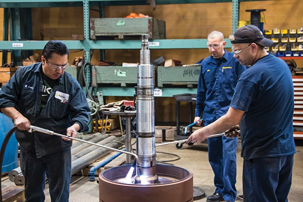During disassembly, Hydro mechanics heat the interference-faced impellers to remove them from the shaft for repair.