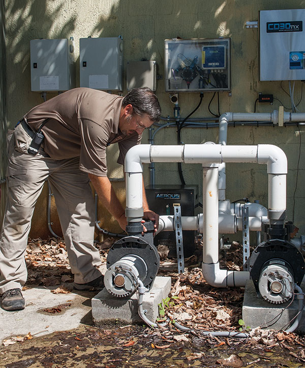 Keeping the park's ancillary buildings, such as the animal hospital, cool and in good working condition is one of the responsibilities of the Palm Beach Zoo's maintenance staff of six technicians.