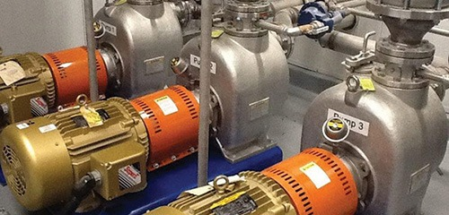 Three well-maintained self-primer pumps located at a water treatment plant in Ohio. Photo: Summit Pump Inc.