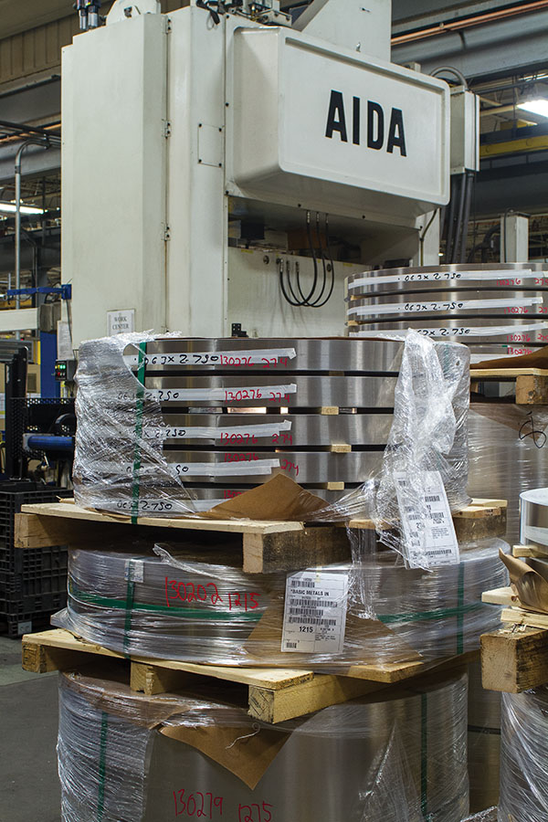 Coil stock is staged in the Greenheck stamping department.